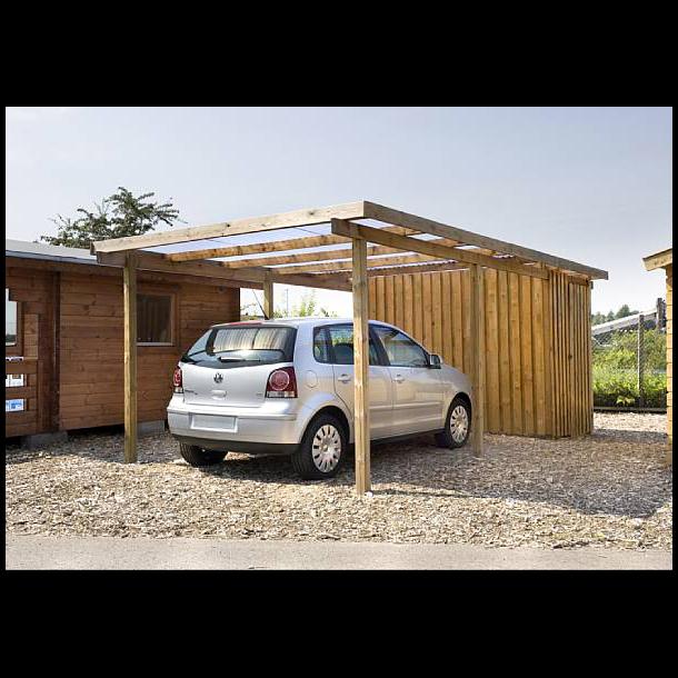 Enkelt carport med redskabsrum